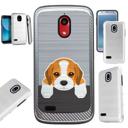For Coolpad Illumina (2018) Case Brushed Metal Texture Hybrid TPU Artillery Phone Cover (Cute Dog (Best Brush For Beagle)