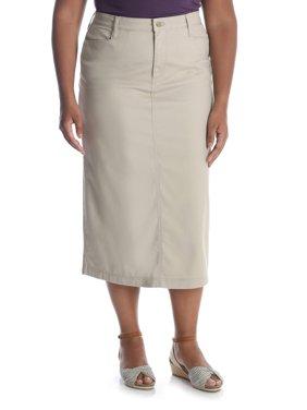 Women's Plus Long Stretch Twill Skirt