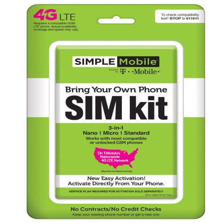 Simple Mobile Bring Your Own Phone SIM Kit - T-Mobile GSM (Dual Sim Card Phone)