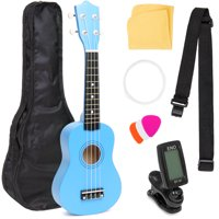 Best Choice Products Basswood Ukulele Musical Instrument Starter Kit w/ Waterproof Nylon Carrying Case, Strap, Picks, Cloth, Clip-On Tuner, Extra String - Blue
