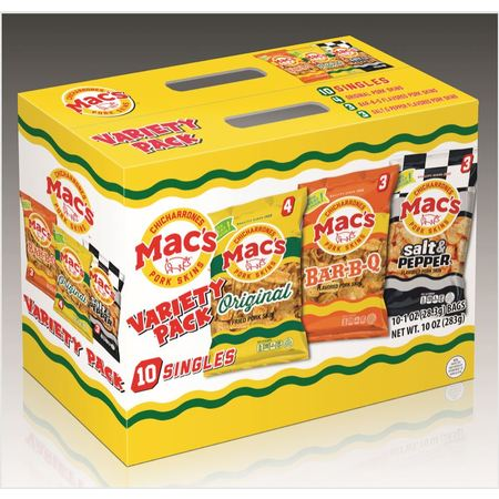 Mac's Original, BBQ, & Salt & Pepper Pork Skin Variety Pack, 1 Oz., 10 (Pork Salsa)