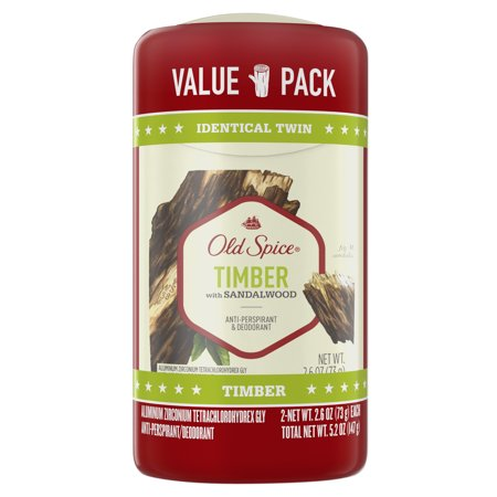 Old Spice Invisible Solid Antiperspirant Deodorant for Men Timber with Sandalwood Scent Inspired by Nature 2.6 oz (Pack of 2)