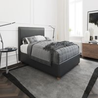 Better Homes & Gardens Chambers Upholstered Platform Black Faux Leather Bed with Nailheads, Multiple Sizes