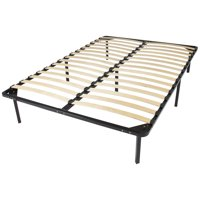 Best Choice Products Queen Size Wooden Slat Metal Bed Frame Wood Platform Bedroom Mattress Foundation w/ Bottom Storage, No Box Spring Needed - Black