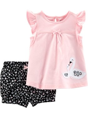 Short Sleeve T-Shirt and Shorts, 2pc Outfit Set (Toddler Girls)