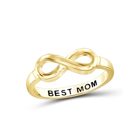 Basketball Message Ring (Best Mom Sterling Silver Infinity Loop Message)