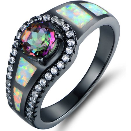 Black White Enamel Rhodium Ring - Mystic Topaz and Lab Created Opal Black Rhodium-Plated Cocktail Ring