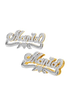 Personalized 14K Gold Over Sterling Silver Stud Name Earrings with Beading and Rhodium All Over The Name, Tail and Heart
