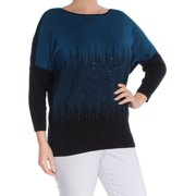 d7c893ff108d4 ALFANI Womens Teal Sequined Ombre Dolman Sleeve Boat Neck Sweater Size  L