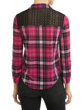 Juniors' Plaid Printed Lace Back Tie Front Blouse