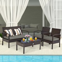 Deals on Costway 4 PCS Patio Rattan Cushioned Furniture Set