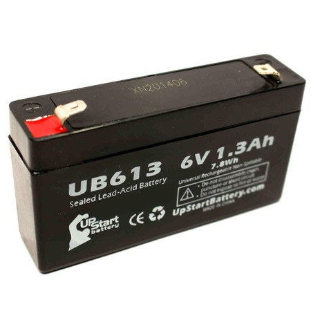 MASIMO RADICAL 8 Battery Replacement -  UB613 Universal Sealed Lead Acid Battery (6V, 1.3Ah, 1300mAh, F1 Terminal, AGM, SLA) - Includes TWO F1 to F2 Terminal Adapters