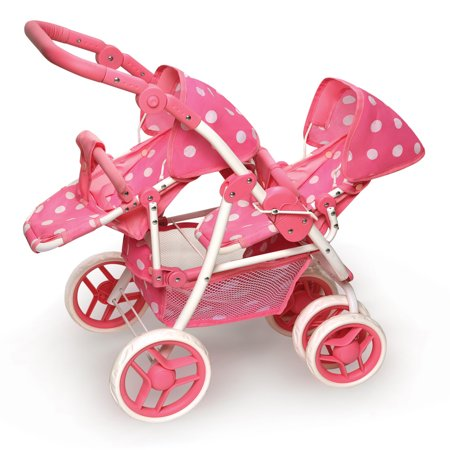 Badger Basket Polka Dot Reversible Double Doll Stroller - Pink ()