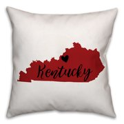 Red and Black Kentucky Pride 16x16 Spun Poly Pillow