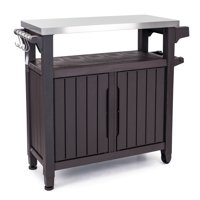 Keter Unity XL Resin Serving Station, All-Weather Plastic and Metal Grill, Storage and Prep Table, 78 Gal, Brown
