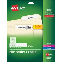 "Avery File Folder Labels with TrueBlock Technology, 2/3"" x 3-7/16"", White, 750 Count"