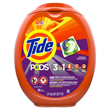 Tide PODS Liquid Laundry Detergent Pacs, Spring Meadow, 96