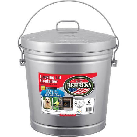 Behrens 6-Gallon Galvanized Steel Locking-Lid - Galvanized Buckets Wholesale
