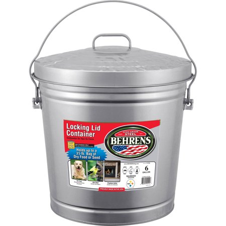 Behrens 6-Gallon Galvanized Steel Locking-Lid Can](Galvanized Bucket)