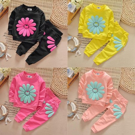 Kids Infant Baby Girls Sun Flower T-shirt Jumper Tops+Pants Outfit Clothing Sets