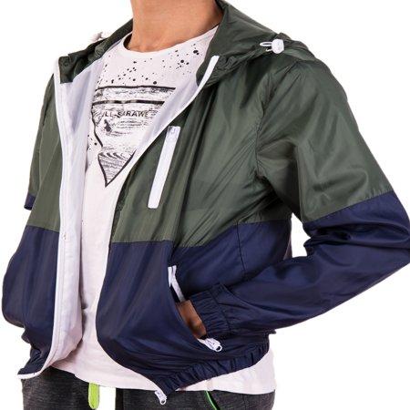 Polyester Raincoat (LELINTA Mens Hooded Waterproof Windbreaker Rain Jacket Comfortable Men Leisure Outwear(L-3XL to Choose) Green)