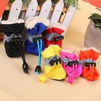 Girl12Queen 4Pcs/Set Dog Cat Winter Warm Rain Boots Protective Pet Sports Anti-Slip Shoes