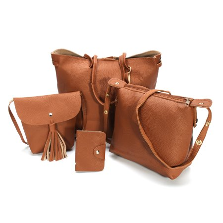 4pcs Women PU Leather Handbag Shoulder Bag Tote Purse Messenger Satchel -