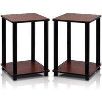 Furinno Turn-N-Tube End Table Corner Shelves, Dark Cherry/Black, Set of 2