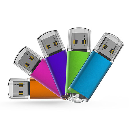 KOOTION 5 Pack 32GB USB 2.0 Flash Drive Thumb Drives Memory Stick, 5 Mixed Colors: Blue, Purple, Pink, Green, (Best Encrypted Thumb Drive)