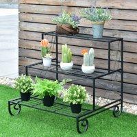 Costway 3 Tier Outdoor Metal Plant Stand Flower Planter Garden Display Holder Shelf Rack