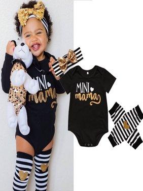 Mama's Mini Newborn Infant Baby Girl Romper+Leg Warmer+Headband Clothes Outfits