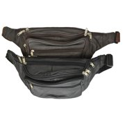 87024a3ed93f New Design Large Multi Zippered Genuine Leather Fanny Pack Waist Bag 041  (C) Brown