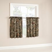 """Mossy Oak Camouflage Curtain Tier Pair - 75% Polyester / 25"""" Cotton - 29"""" X 36"""""""