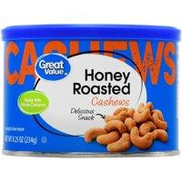 (3 Pack) Great Value Honey Roasted Cashews, 8.25 oz