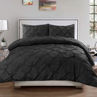 Luxury 3 Piece Pinch Pleat Pintuck Polyester Duvet Cover and Pillow Sham Set, Queen Grey