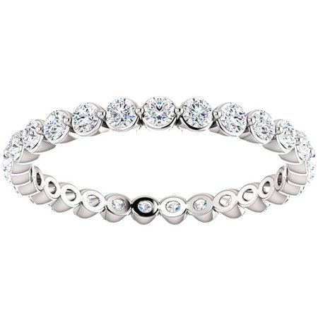 3/4 Ct Diamond Single Prong Eternity Ring Wedding Stackable Band 14k White Gold