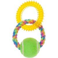 Pugslies Double Ring Tennis Ball Tug Dog Toy