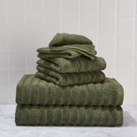Mainstays Textured Performance Cotton Bath Set - 6 Piece Set
