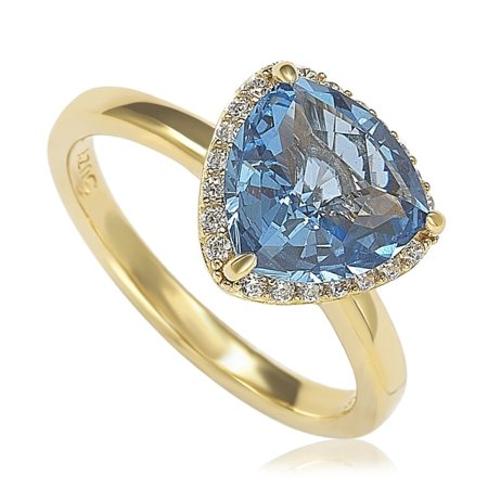 Suzy Levian Gold-Plated Sterling Silver Aqua Cubic Zirconia Trillion-Cut Ring
