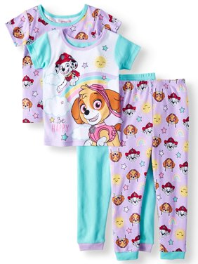 Toddler Girls' Cotton Tight Fit Pajamas, 4-Piece Set