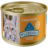 Blue Buffalo Wilderness High Protein Grain Free, Natural Adult Pate Wet Cat Food, Turkey, 5.5-oz cans, Case of 24
