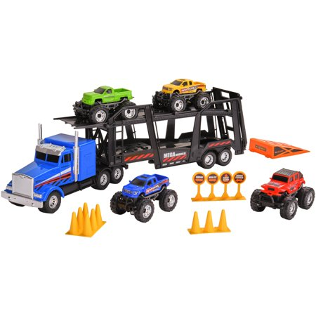 Adventure Force 20-Piece Light & Sound Vehicle Transporter Play Set with Detachable Trailer (Rig Transporter)