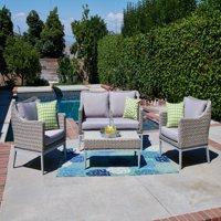 Incadozo 4-Piece Outdoor Wicker Conversation Set, Gray with Gray Cushions