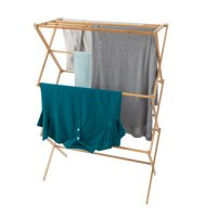 Bamboo Clothes Drying Rack- Collapsible and Compact for Indoor/Outdoor Use-Portable Wooden Rack for Hanging and Air-Drying Laundry- By Lavish Home