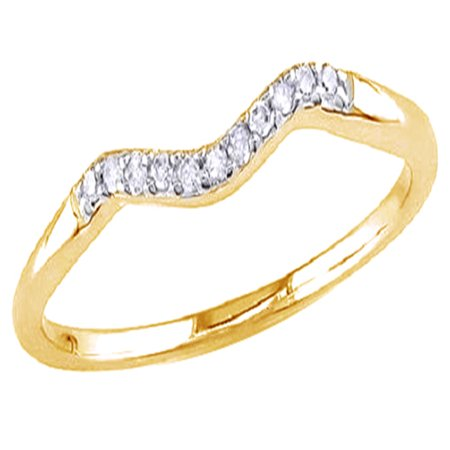 White Natural Diamond Accent Curved Matching Wedding Band Ring In 14k Yellow Gold Over Sterling Silver (0.06 Cttw) (Curved Wedding Band Yellow Gold)