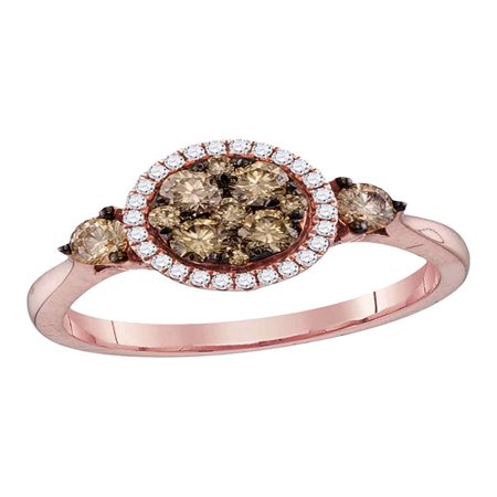 14kt Rose Gold Womens Round Cognac-brown Color Enhanced Diamond Cluster Bridal Wedding Engagement Ring 3/4 Cttw - Rose Gold Wedding Colors