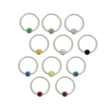 Captive Ring Body Jewelry with Gem Bead 14G 3/8 10mm Surgical Steel