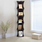 Yaheetech 5 Tier Brown Round Wall Corner Shelf Stand Storage Skinny Display Bookshelf Rack Casual Home Office   Furniture