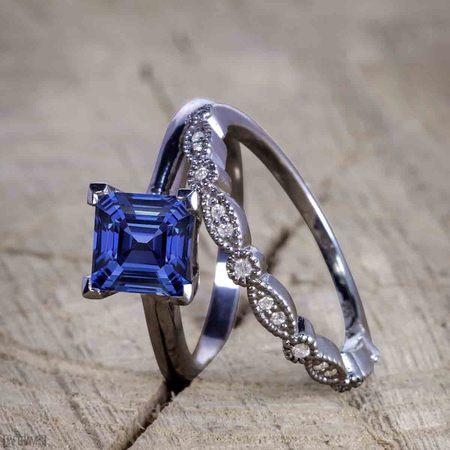 Black And Gold Wedding (Antique Artdeco 1.25 Princess cut Sapphire and Diamond Wedding Bridal Set in Black)
