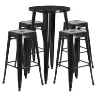 """Flash Furniture 24"""" Round Metal Indoor-Outdoor Bar Table Set with 4 Square Seat Backless Barstools, Multiple Colors"""